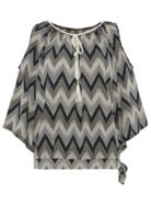 Quiz Quiz Black Zig Zag Print Cold Shoulder