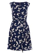 Quiz Quiz Navy Butterfly Print Lace Dress