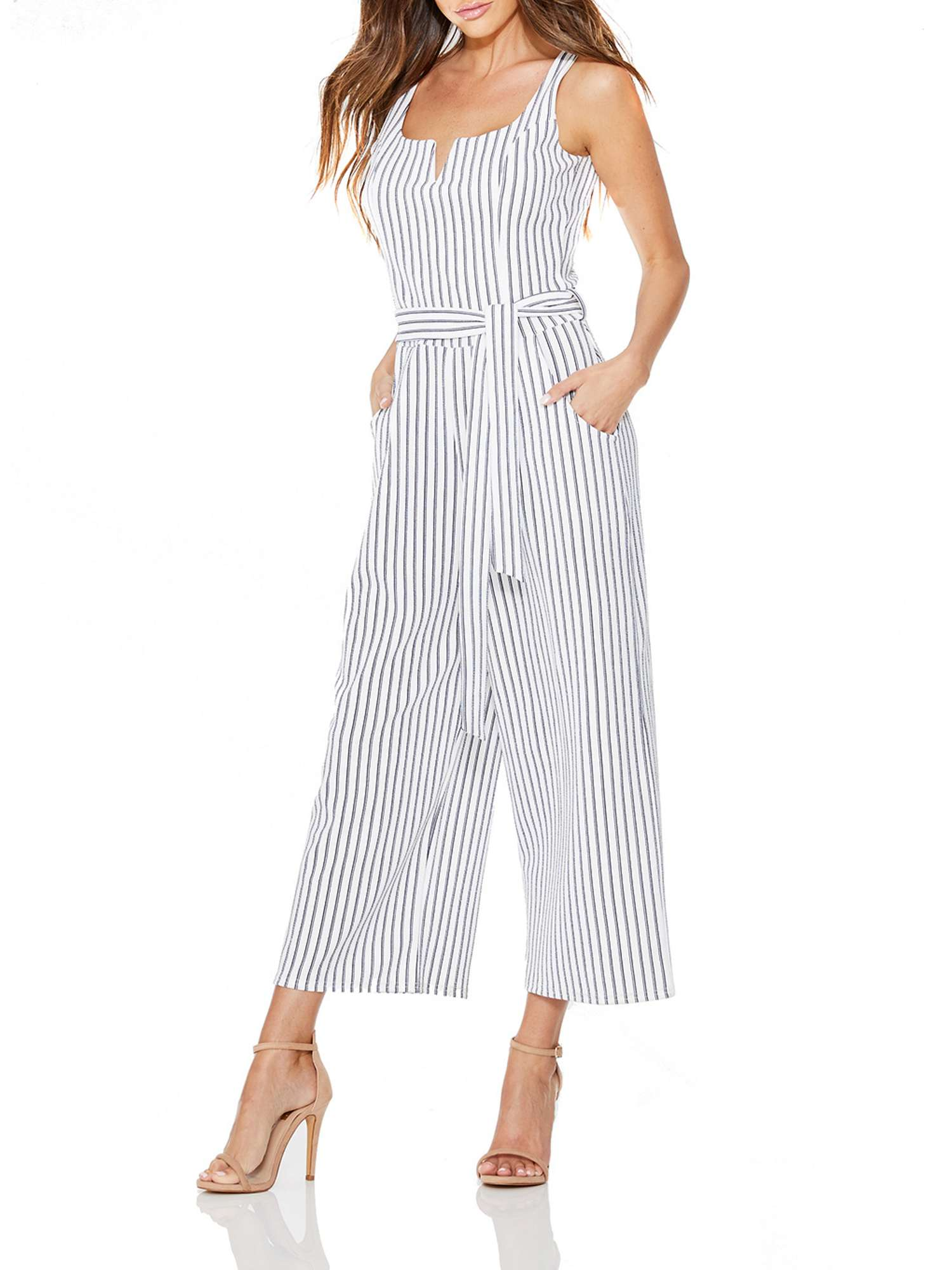 Quiz Navy Belt Jumpsuit Quiz And White Stripe Tie gP8gCvx