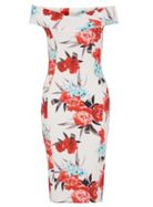 Quiz Quiz Cream And Coral Floral Midi Dress