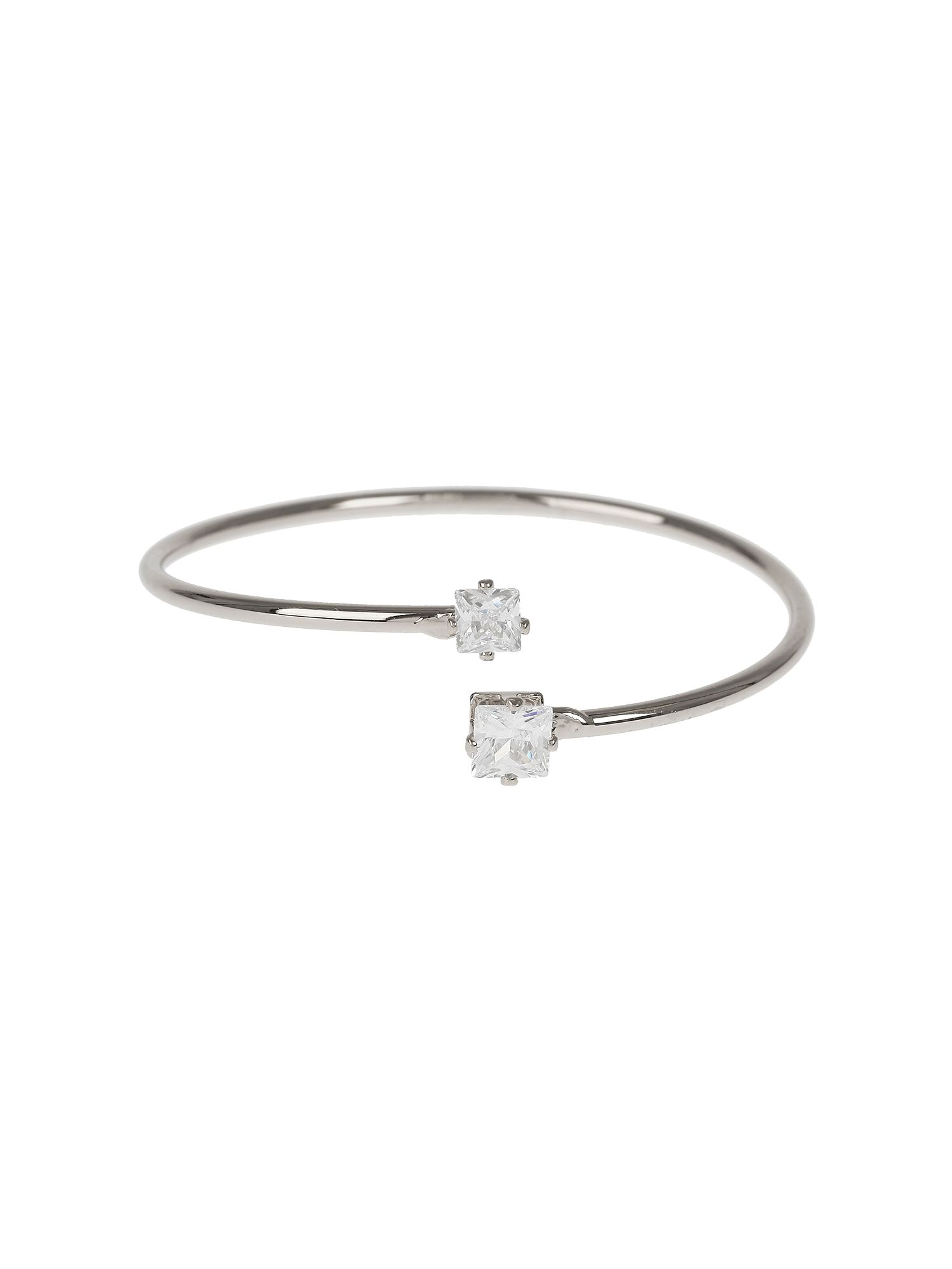 Mikey Crystal Heart Cap End  Wire Cuff NA