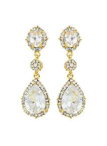Mikey Oval Crystal Edged Drop Earring