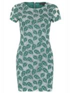 Cap Sleeve Leaf Print Bodycon Dress