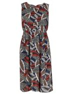TENKI Sleeveless Leaf Print Midi Dress