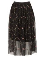 TENKI Flower Embroidered Net Midi Skirt