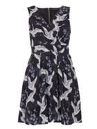 TENKI V-Neck Bird Print Skater Dress