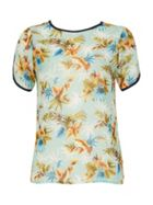 TENKI Tropical Leaves Print Jersey Top