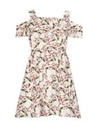 TENKI Cold Shoulder Floral Skater Dress