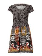 TENKI Cap Sleeve Owl Print Tunic Dress