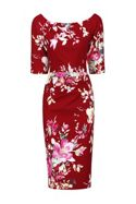 Jolie Moi Retro Floral Half Sleeve Ruched Dress