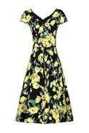 Jolie Moi Floral V Neck Cap Sleeve Dress