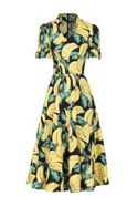 Jolie Moi Banana Print Short Sleeved Tea Dress