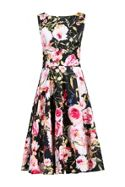 Floral Print Crossover Beleted Dress