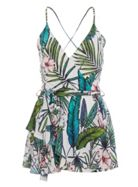 Quiz Quiz X Towie Cream And Greentropical Playsuit