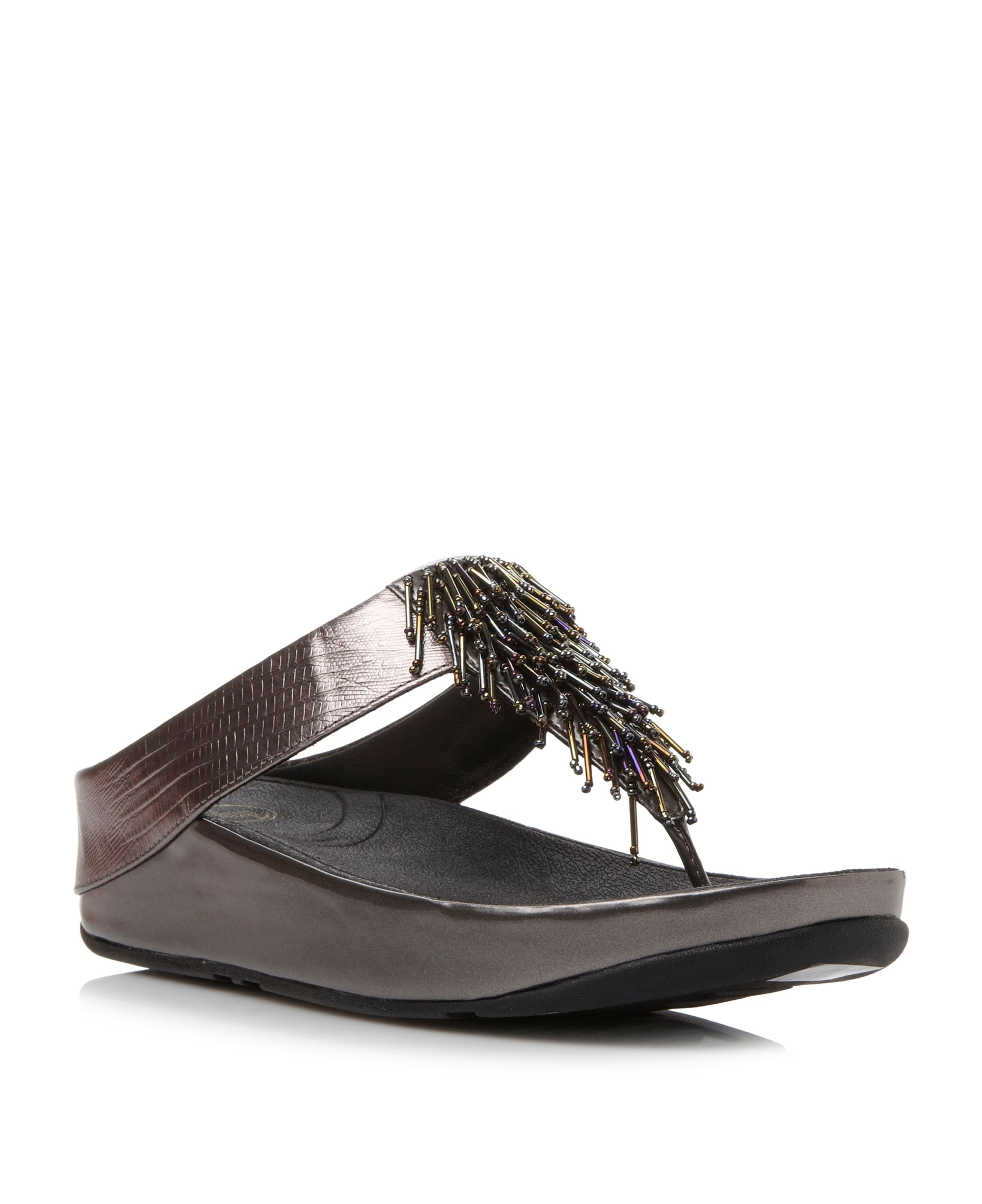d5f98b27576796 FitFlop Cha Cha Beaded Fringe Toe Post Sandals - House of Fraser
