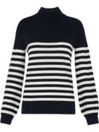 Stripe Funnel Neck Rib Knit