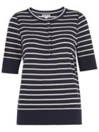 Stripe Button Front Henley Tee