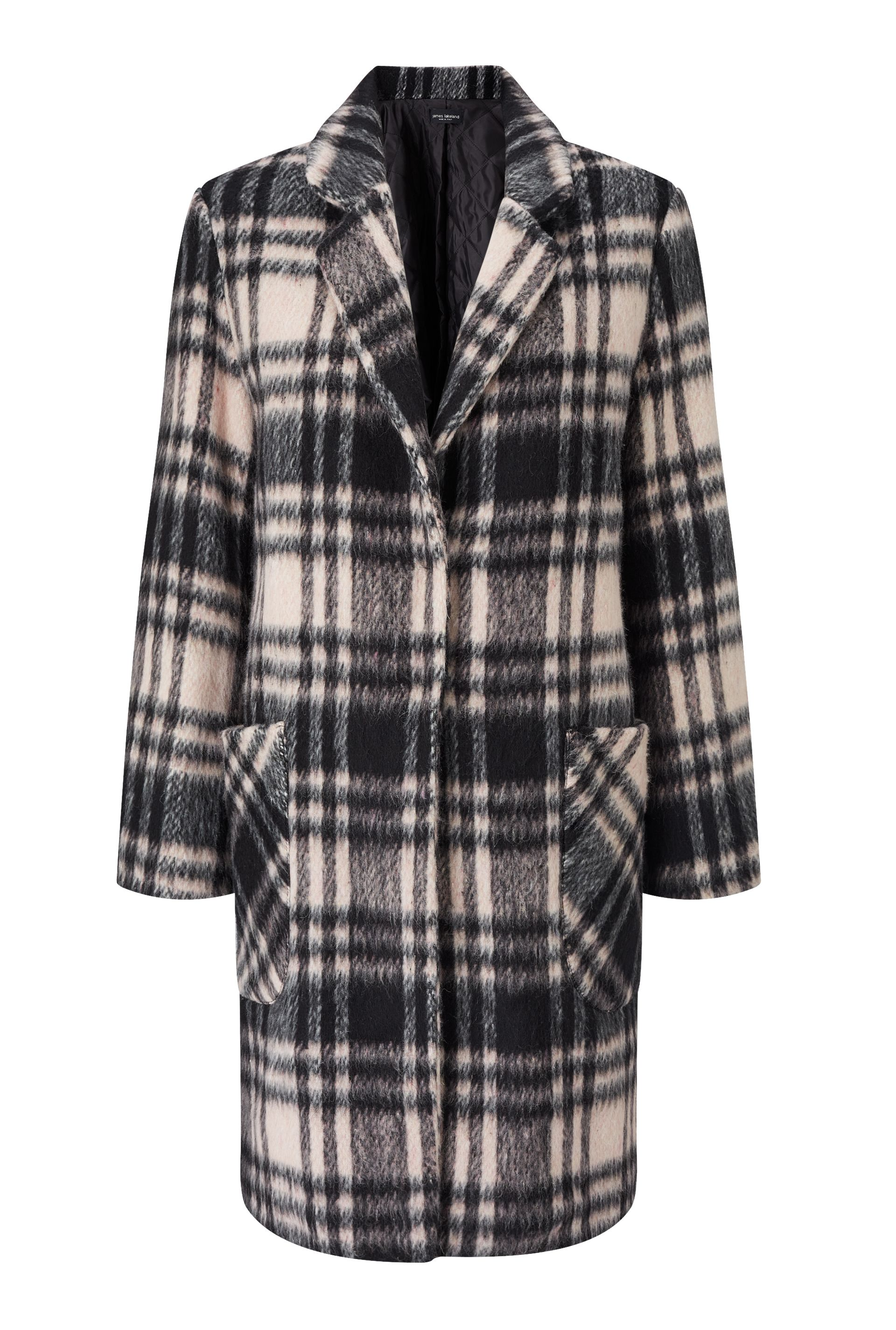 1920s Style Coats James Lakeland Check Wool Mix Coat Pink £98.00 AT vintagedancer.com