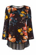 Roman Originals Multi Floral Print Slub Top