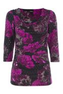 Roman Originals Blurred Floral Cowl Neck Top