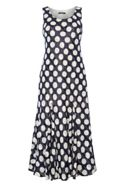 Roman Originals Navy Spot Print Maxi Dress