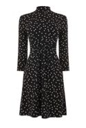 Warehouse Mono Spot High Neck Dress