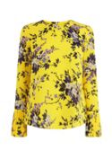 Warehouse Trailing Floral Pleat Cuff Top