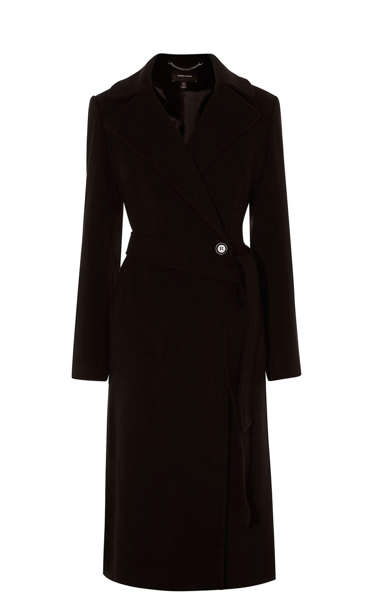 Karen Millen Long Fitted Wool Coat, Black