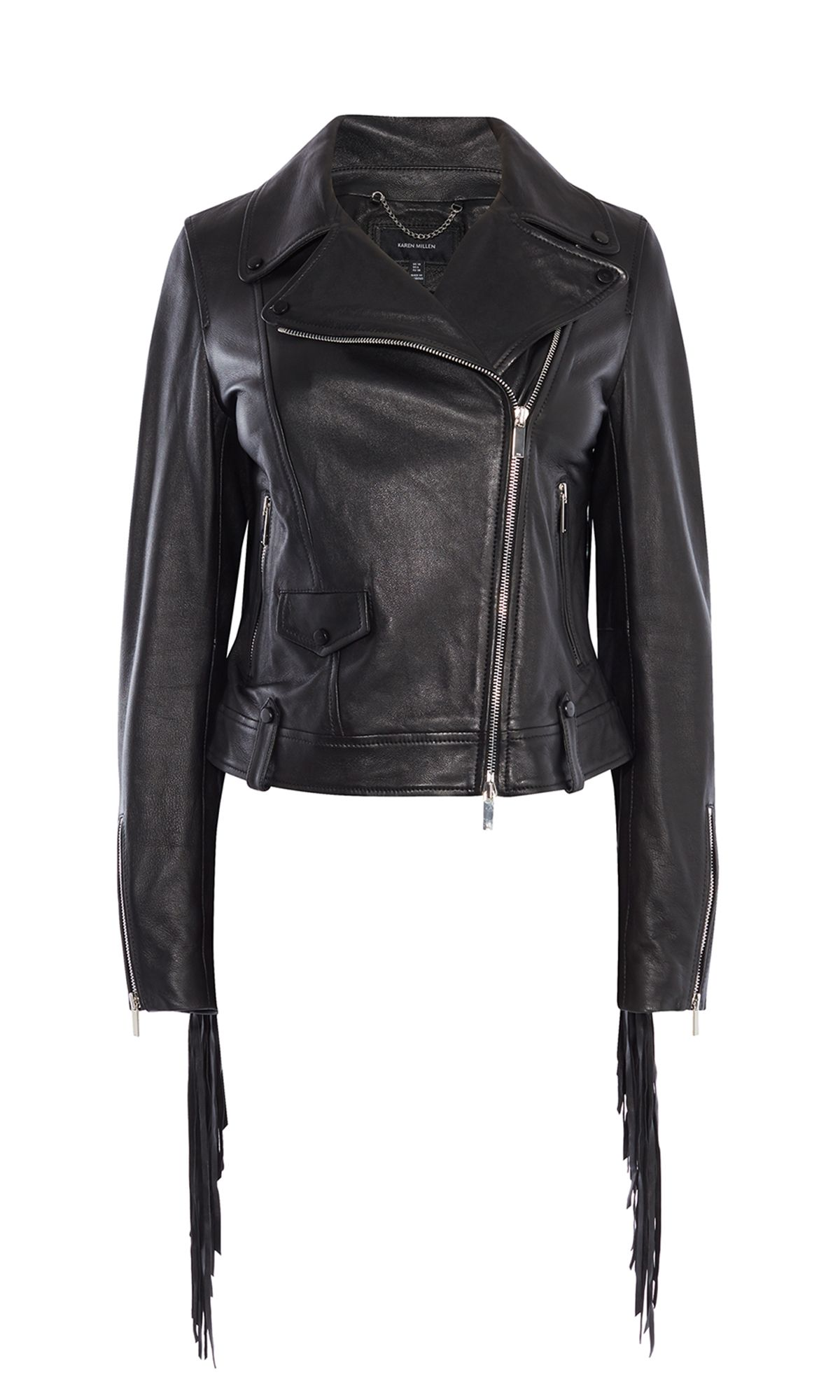 Karen Millen Leather Fringed Jacket, Washed Black
