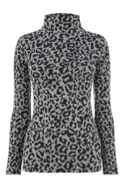 Animal Print Funnel Neck Top
