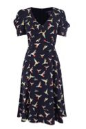 Bird Print V Neck Drape Sleeve Dress