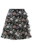 Oasis Tropical flower linen ruffle skirt