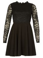 Izabel London Ruffle Neck Lace Dress