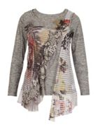 Izabel London Abstract Print Layered Tunic