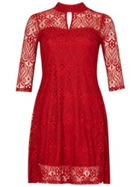 Keyhole Neck Lace Dress
