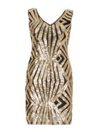Izabel London Aztec Plunge Sequin Dress