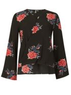 Izabel London Long Sleeve Floral Print Wrap Top