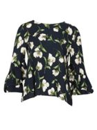 Izabel London Floral Print Flute Sleeve Blouse Top