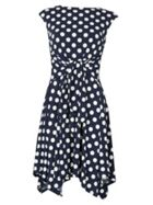 Izabel London Polka Dot Fit &Amp- Flare Dress