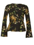 Izabel London Floral Print Wrap Blouse Top