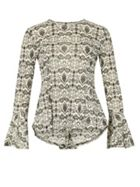 Izabel London Long Sleeve Abstract Print Peplum Top
