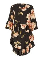 Izabel London Bell Sleeve Floral Print Top