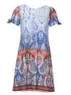 Izabel London Tie Sleeve Print Shift Dress