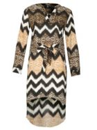 Izabel London Long Sleeve Animal Print Midi Dress