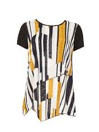 Izabel London Asymmetric Abstract Print T-Shirt Top