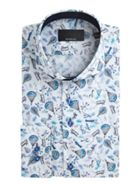 Men's Baumler Nikolaus Plane Print Cotton Shirt