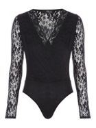 Jane Norman Lace Wrap Bodysuit