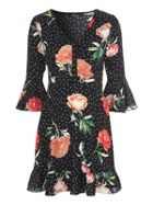 Jane Norman Floral Flared Sleeve Dress