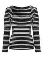 Jane Norman Striped Ribbed Top