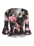 Jane Norman Floral Frill Twist Front Top